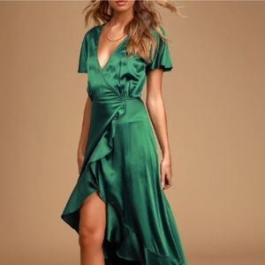 NWT Lulu's  Love of Your Life Emerald Ruffle Dress